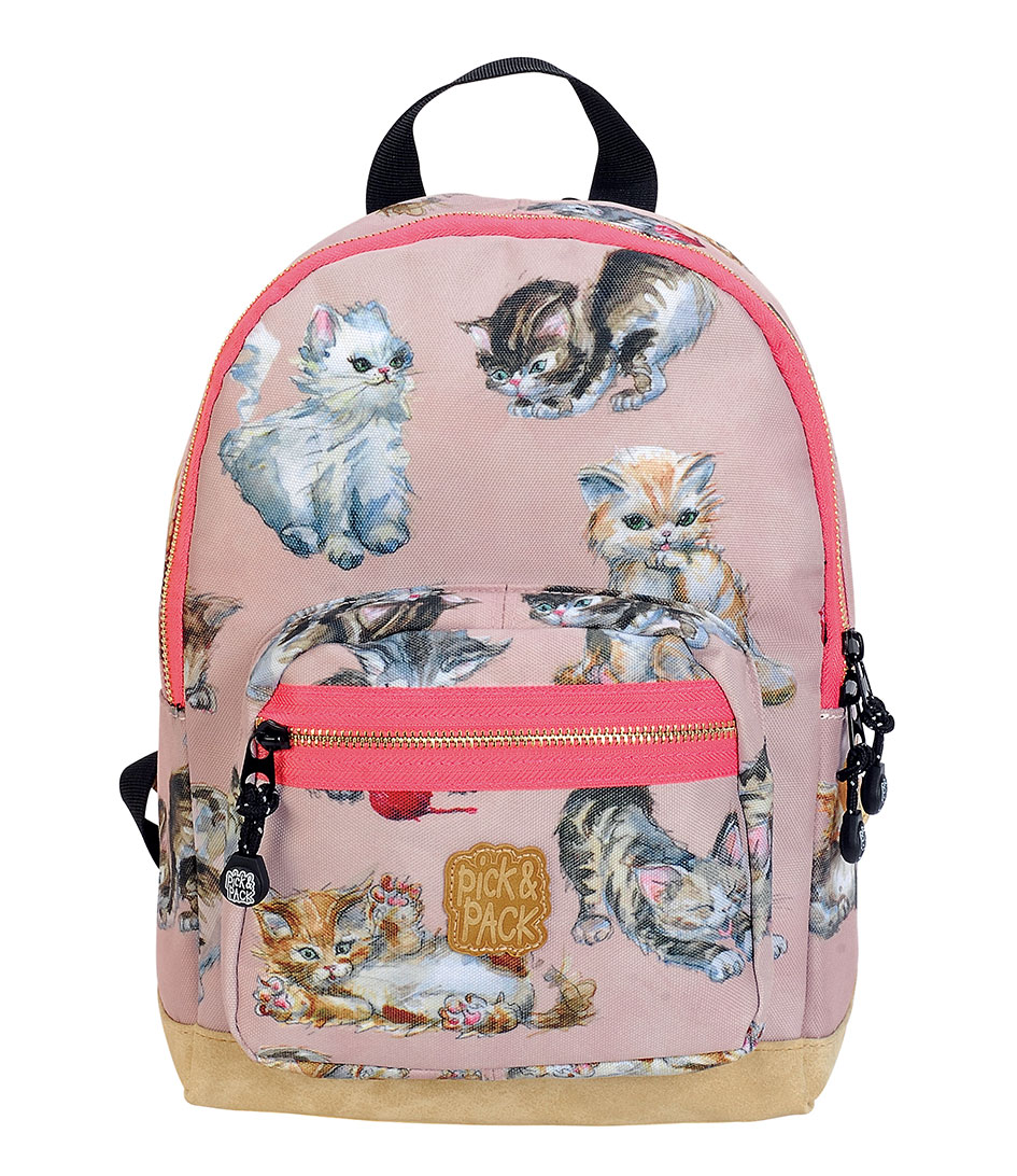 kittens backpack dusty pink