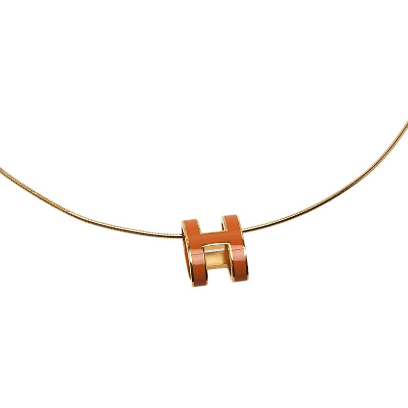 Hermes Pop H Soleil Dark Yellow Lacquered Gold Tone Pendant Necklace