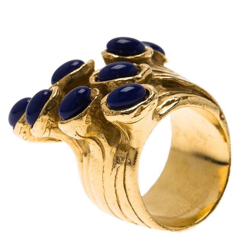 Saint Laurent Paris Arty Dots Gold Tone Ring Size 57 Saint Laurent Paris | TLC