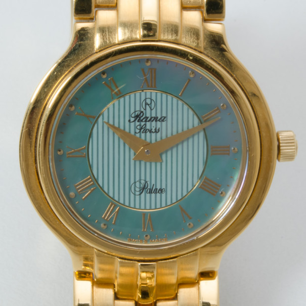 Buy Rama Swiss Watch Blue MOP Dial Gold Plated Unisex
