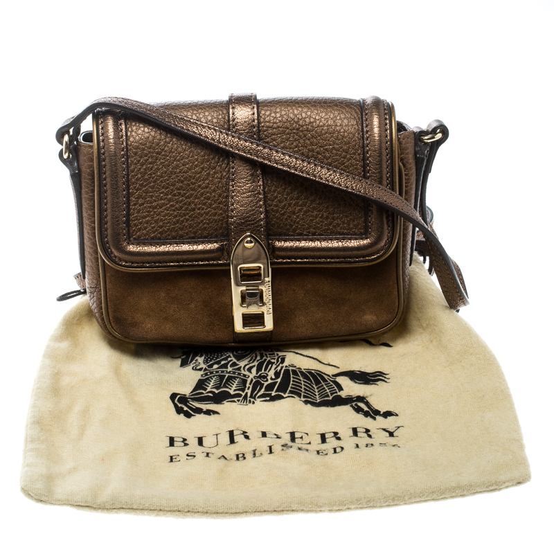Burberry Brown Leather and Suede Mini Berkeley Crossbody Bag Burberry   TLC