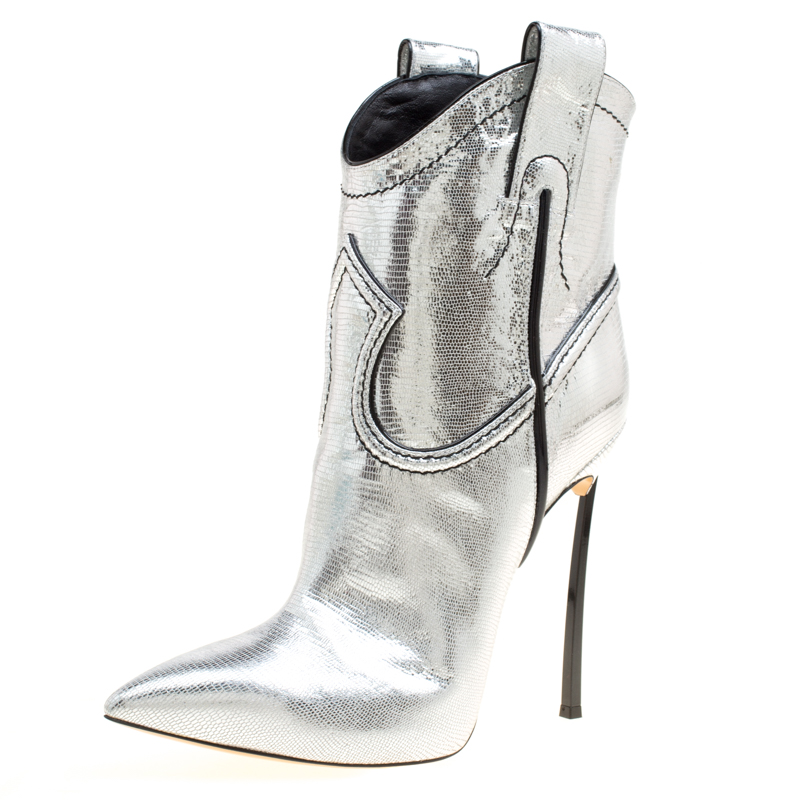 casadei metallic silver embossed