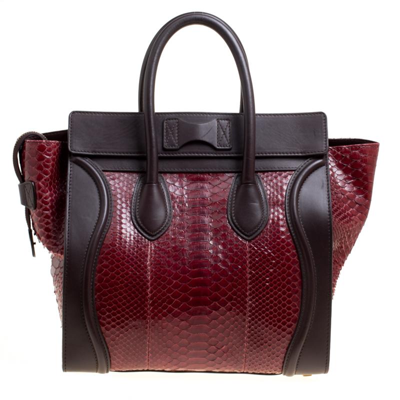 Celine Burgundy/Brown Python and Leather Mini Luggage Tote Celine | TLC