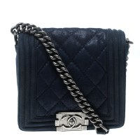 Buy Chanel Blue Iridescent Suede Small Gentle Square Boy ...