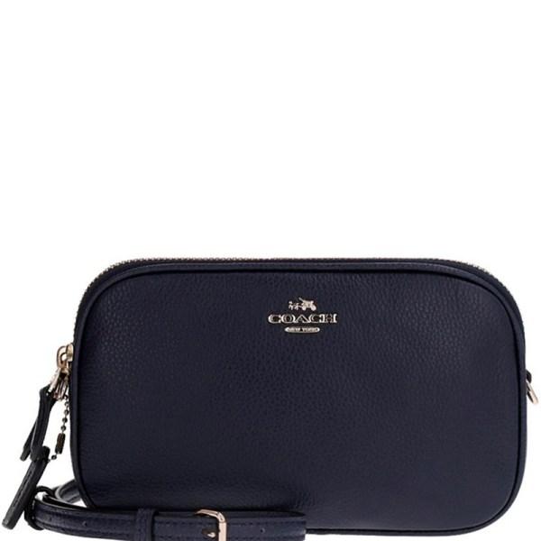 Coach Navy Blue Leather Sadie Clutch Bag 157837