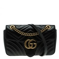 Buy Gucci Black Matelasse Leather Small GG Marmont ...