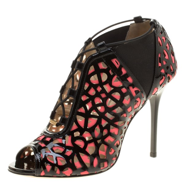 Jimmy Choo Two Tone Laser Cut Leather And Fabric