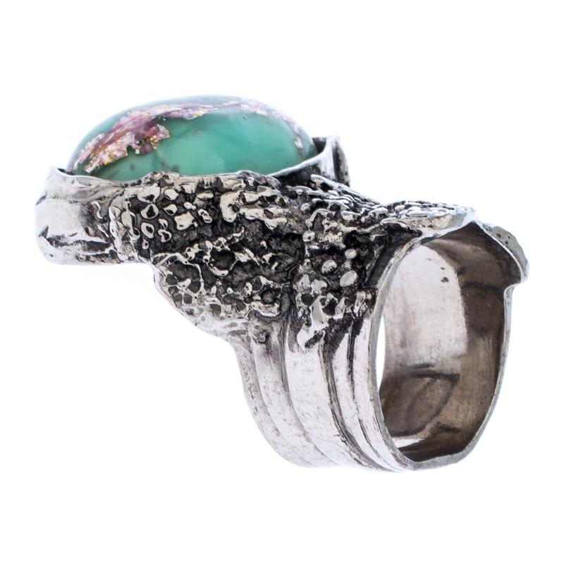 Saint Laurent Paris Arty Green Glass Cabochon Silver Tone Ring Size 53 Saint Laurent Paris | TLC