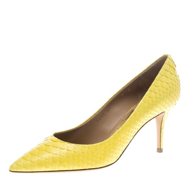 Salvatore Ferragamo Yellow Python Susi Pumps Size 37.5