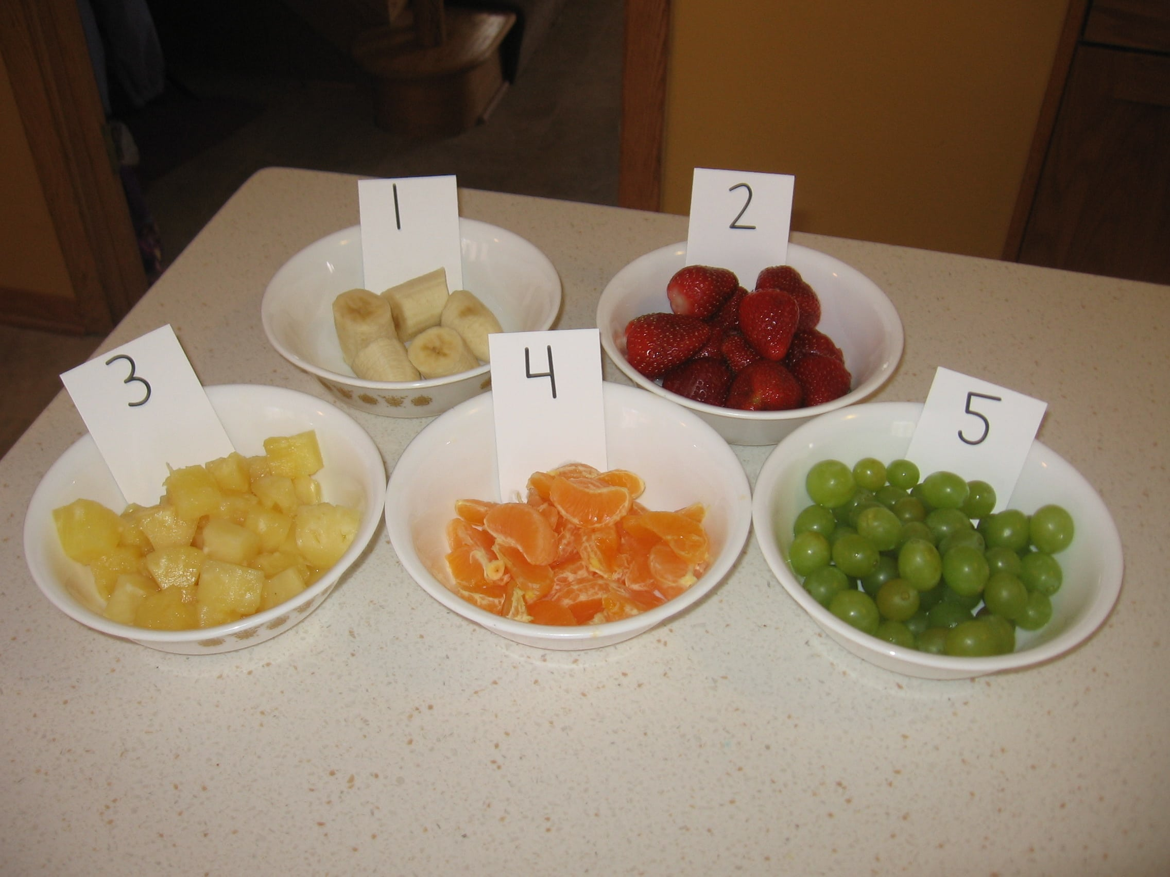 Teach Counting With A Numbered Fruit Salad
