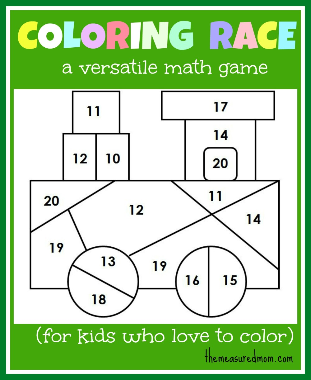 medium resolution of Math game for kids: Coloring Race combines math and coloring - The Measured  Mom
