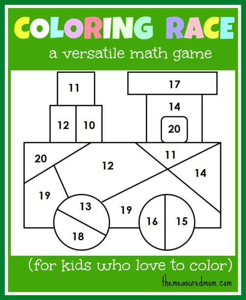 small resolution of Math game for kids: Coloring Race combines math and coloring - The Measured  Mom