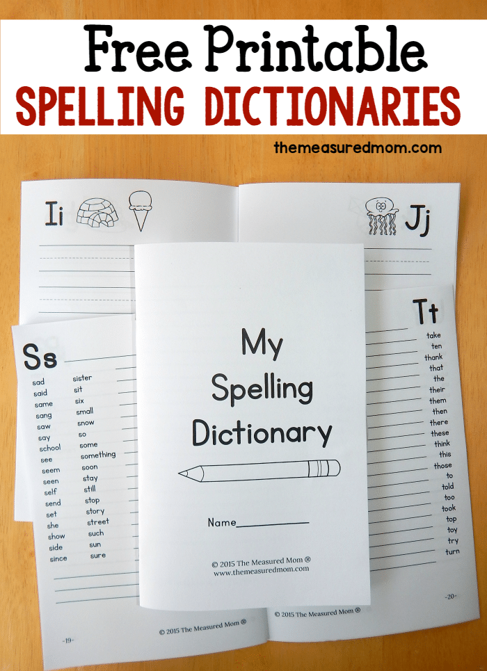 Printable Spelling Dictionary for Kids  The Measured Mom