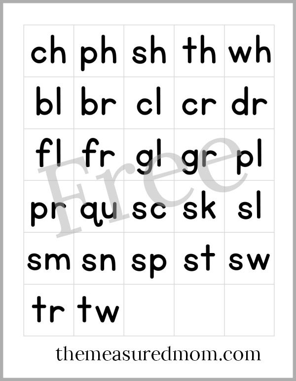 Free printable letter tiles for digraphs, blends, and word