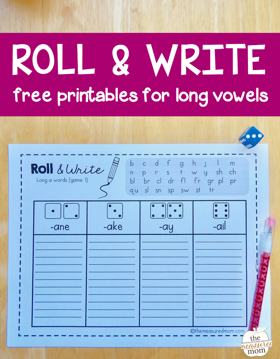 hight resolution of Roll \u0026 write games for long vowel words - The Measured Mom