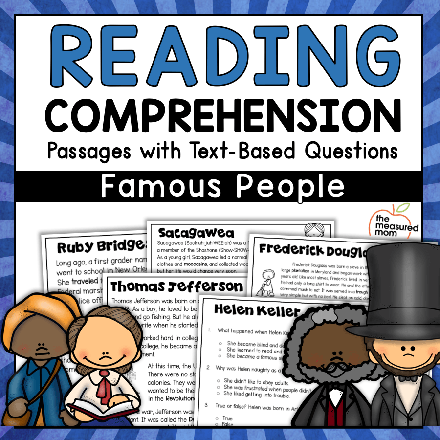 medium resolution of 36 Reading Comprehension Passages about Famous People - The Measured Mom