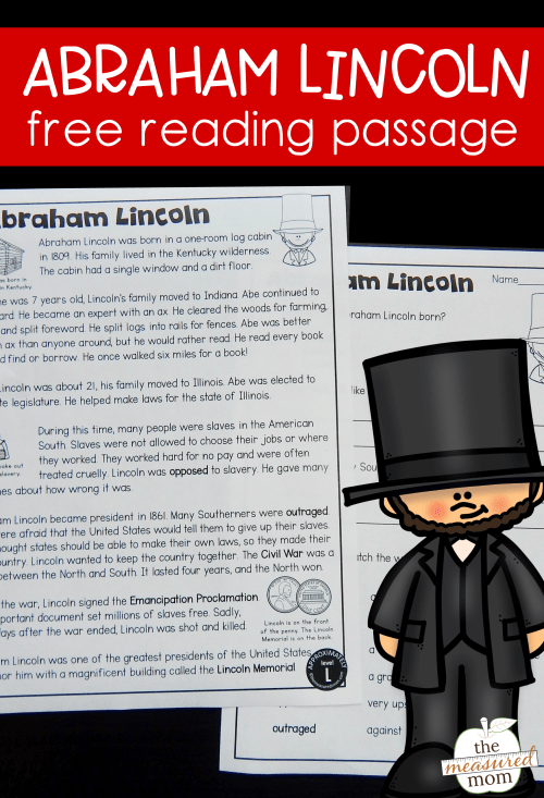 small resolution of Abraham Lincoln reading passage - The Measured Mom