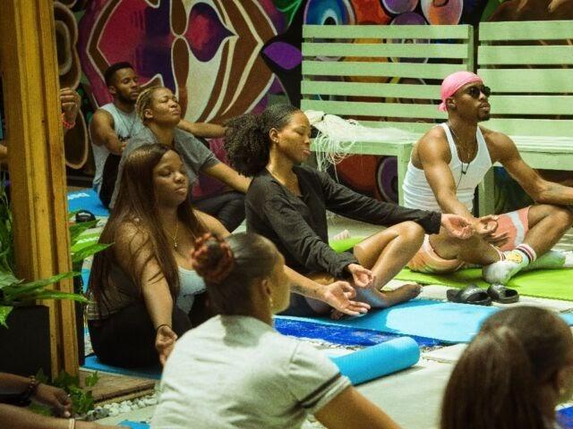 BBNaija housemates in a yoga session