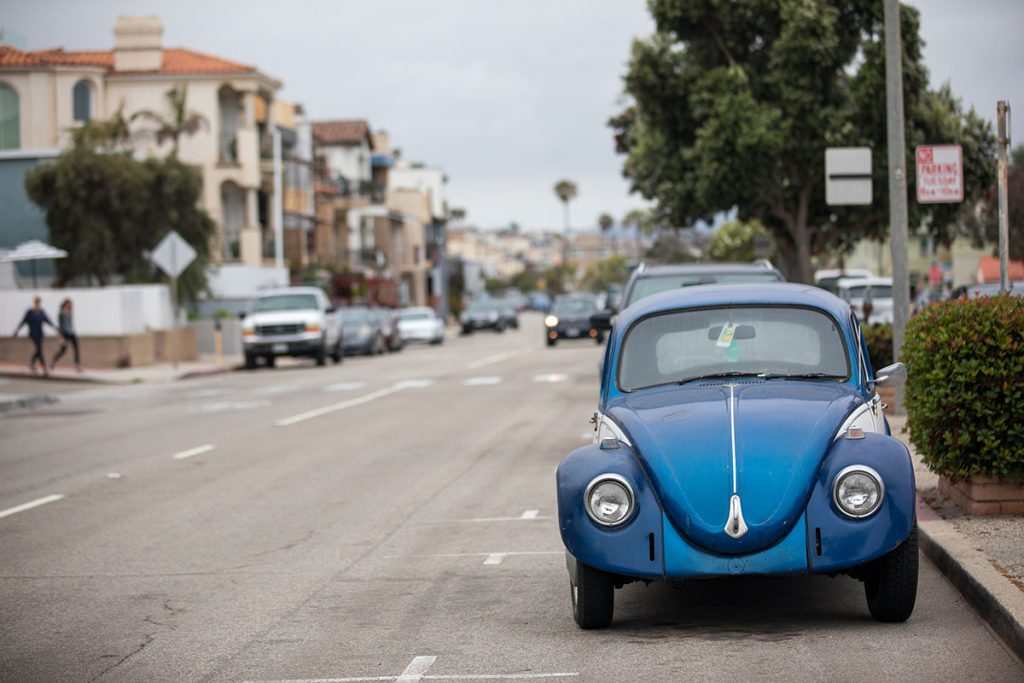 A classic Volkswagon bug is seen parked in Manhattan Beach, Calif.