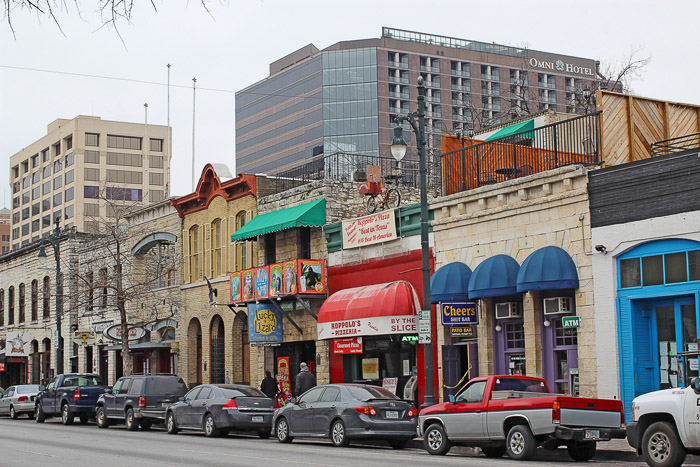 Sixth Street east of Congress Avenue is popular for bar-hopping. Photo from Shutterstock.