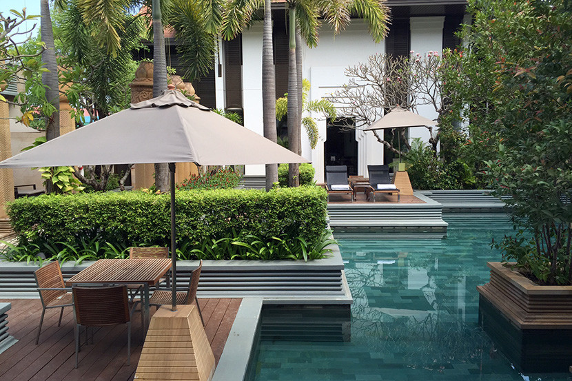 The picturesque upstairs pool.