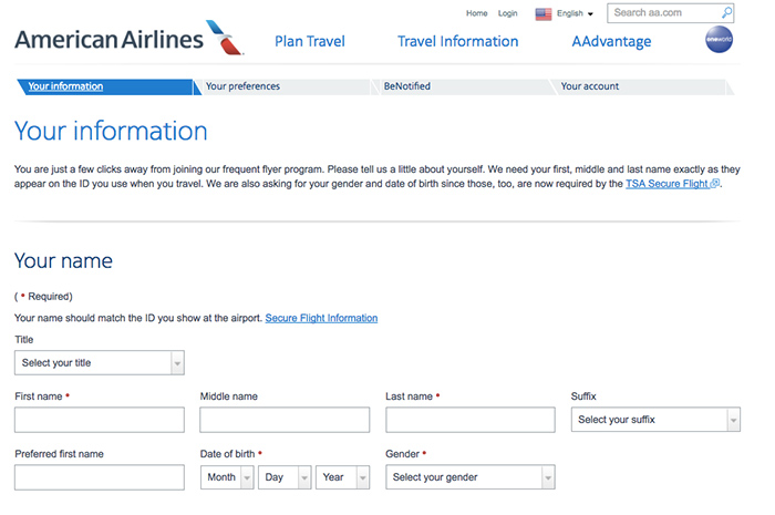 If you do not have an American frequent flyer account, you can register one to earn mileage credit for flights taken within the prior 30 days. Flights on Partner Airlines You can request mileage credit for flights on OneWorld partners using the same link as above.