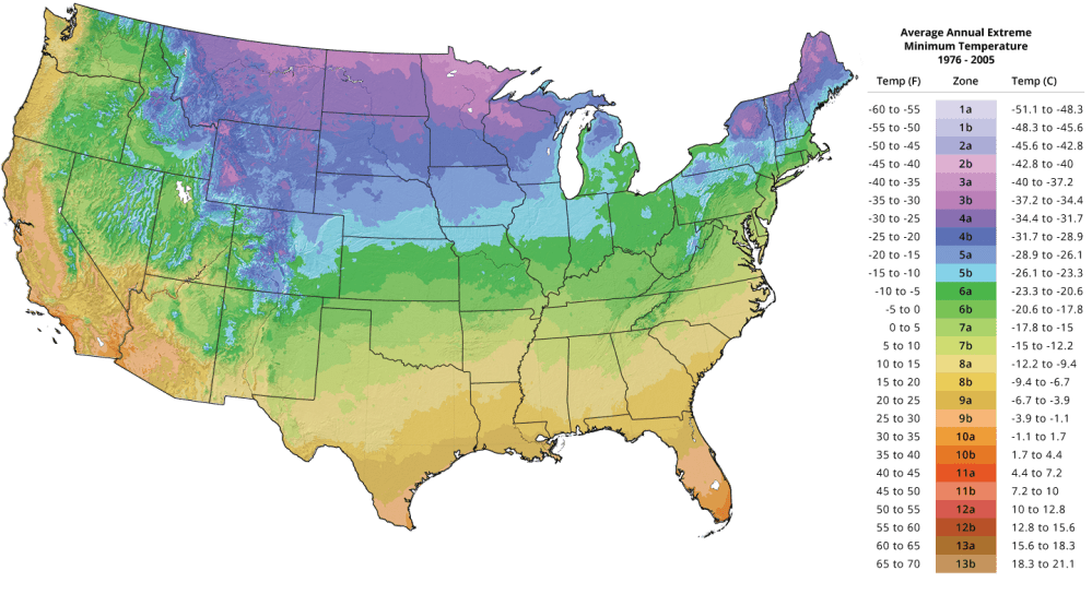medium resolution of usda plant hardiness zone map