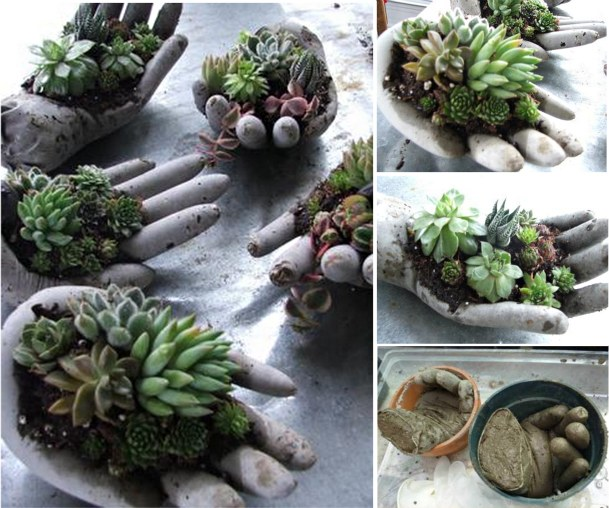 Cement Hand Planters  The WHOot