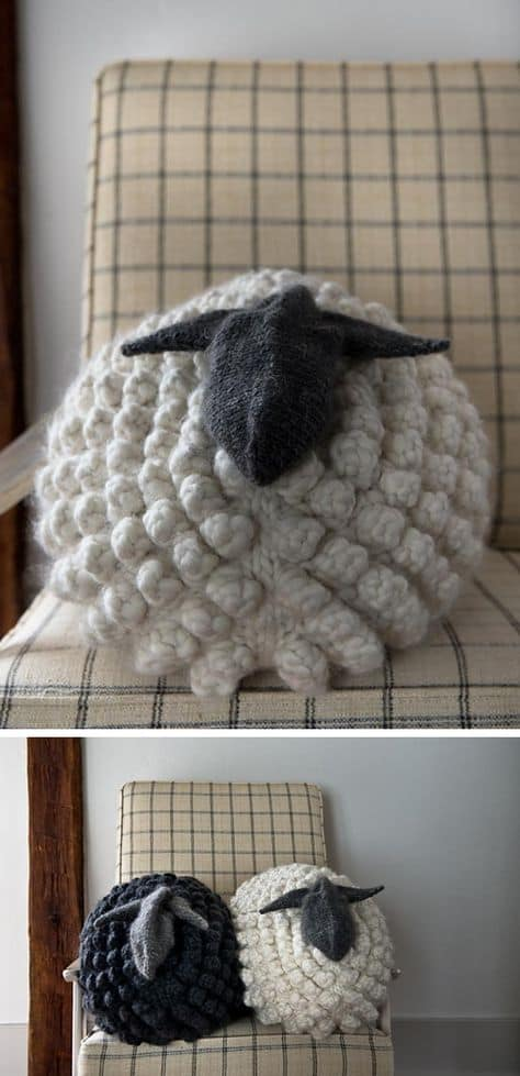 Knitted Sheep Pillow Pattern Free Bobble Stitch Tutorial