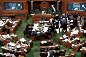 A view of the Lok Sabha during the on going winter session, in New Delhi. Credit: PTI Photo/TV Grab