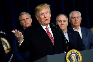 US President Donald Trump speaks to the media after the Congressional Republican Leadership retreat at Camp David, Maryland, US, January 6, 2018. Credit: Reuters /Yuri Gripas