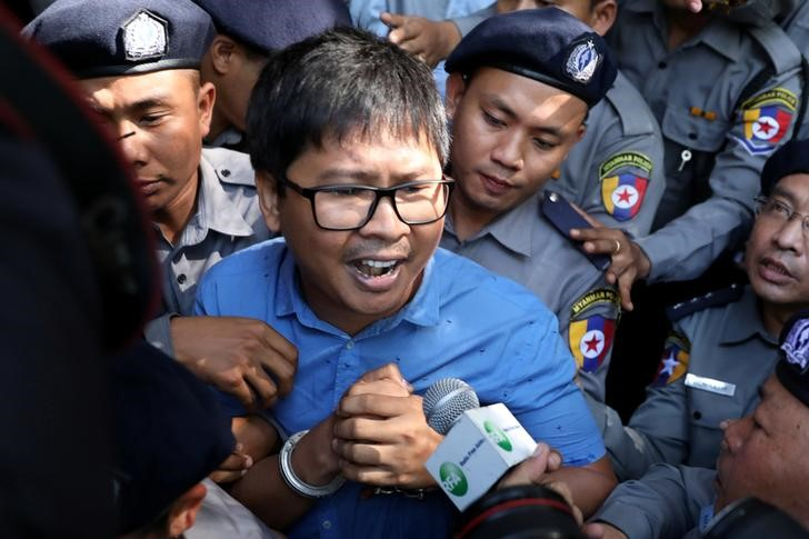 Reuters journalist Wa Lone arrives at the court in Yangon on January 10. Credit: Reuters/Stringer