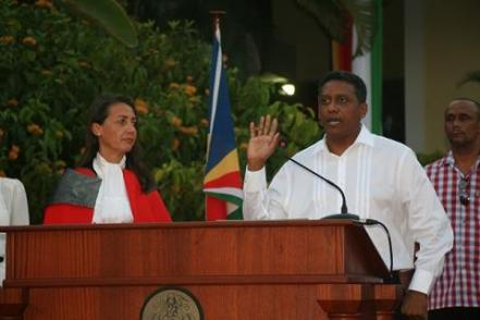 Danny Faure being sworn in as the new president of Seychelles. Credit: Reuters