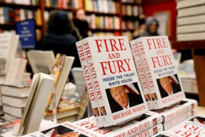 """Copies of the book """"Fire and Fury: Inside the Trump White House"""" by author Michael Wolff are seen at the Book Culture book store in New York, US January 5, 2018. Credit: Reuters/Shannon Stapleton"""