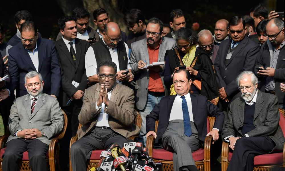 Supreme Court Justice Jasti Chelameswar along with other judges addresses a press conference in New Delhi on Friday. Credit: PTI/Ravi Choudhary
