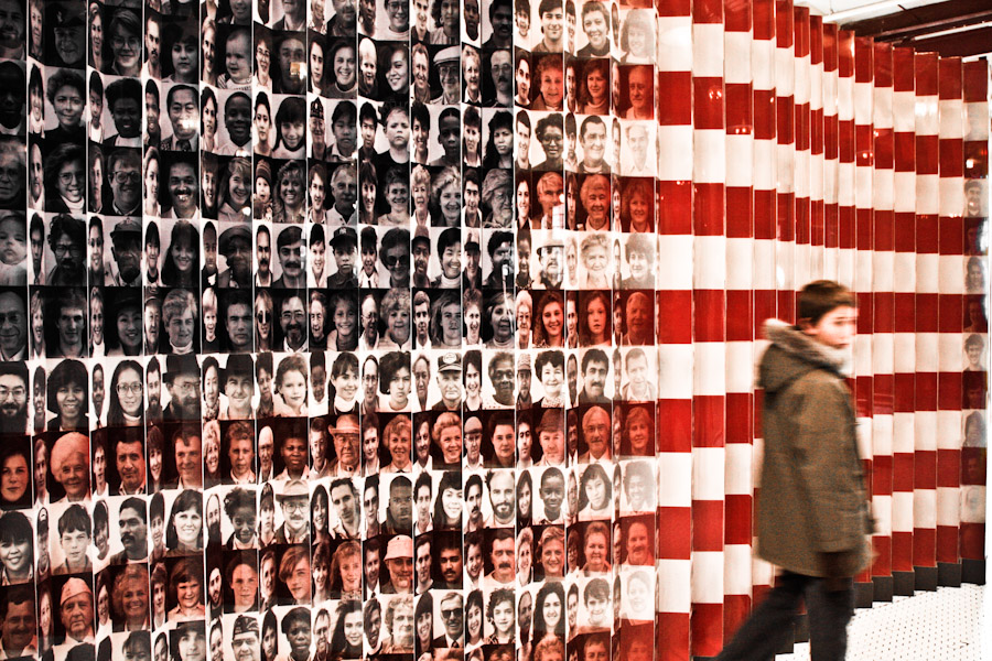 This installation at the Ellis Island Museum of Immigration displays the US flag from one angle and if you move to the other side, the flag's made up of photographs of immigrants to the US. Credit: Gerson Galang/Flickr CC BY-ND 2.0
