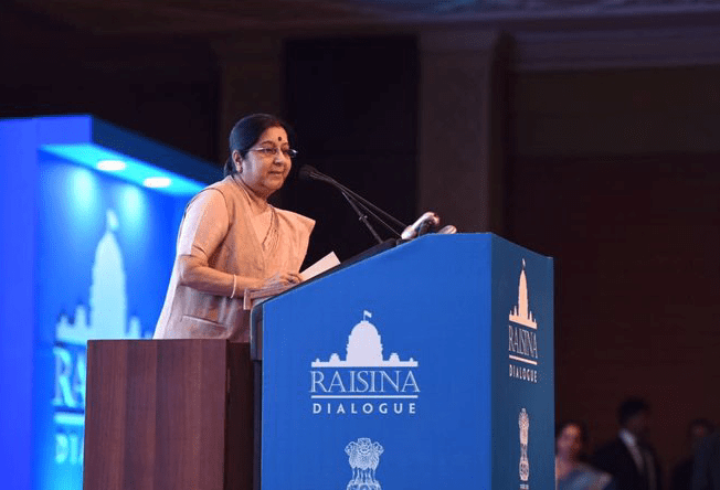Sushma Swaraj at the Raisina Dialogue. Credit: Twitter/@orfonline