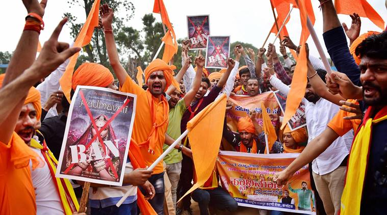Members of Rashtriya Rajput Karni Sena shout slogans against filmmaker Sanjay Leela Bhansali. Credit: PTI