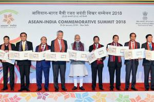 Prime Minister Narendra Modi with the ASEAN heads of state/governments and ASEAN secretary general releases postal stamps to commemorate silver jubilee of India and ASEAN partnership at the ASEAN India Commemorative Summit, in New Delhi on Thursday. Credit: PTI/PIB