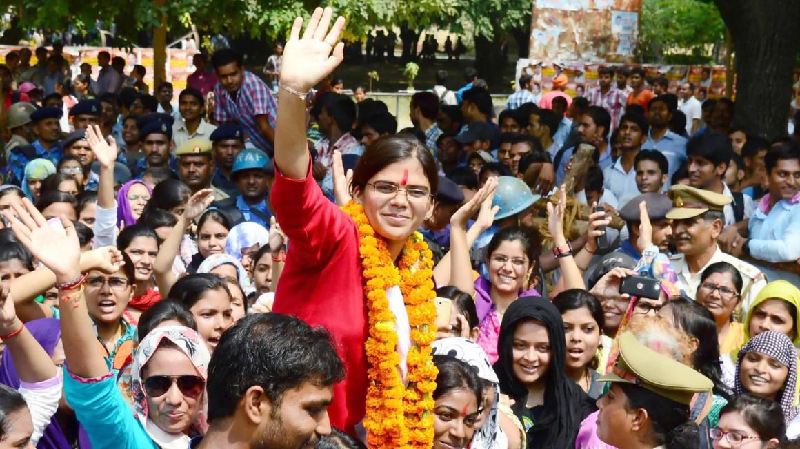 Allahabad University Student Union president Richa Singh. Credit: Twitter