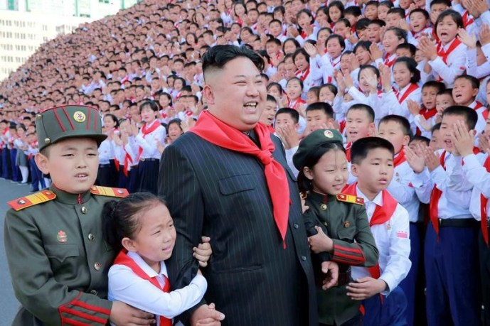 North Korean leader Kim Jong Un poses with participants during the 8th Congress of the Korean Children's Union (KCU) in this undated photo released by North Korea's Korean Central News Agency (KCNA) in Pyongyang, North Korea June 8, 2017. Credit: Reuters/KCNA