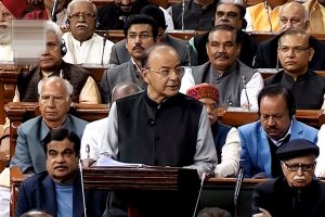 Union finance minister Arun Jaitley presents the Union Budget at Parliament, in New Delhi on Thursday. Also seen are senior BJP leader Lal Krishna Advani, sports and youth affairs minister Rajyavardhan Singh Rathore and Union transport minister Nitin Gadkari. Credit: PTI/TV grab