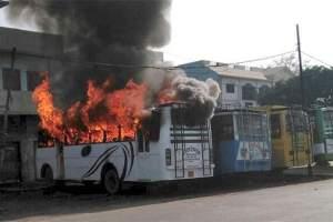 Buses on fire in Kasganj. Credit: PTI