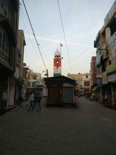 Kasganj's Nadrai Gate area, where maximum rioting happened. The junction is only 50 metres away from the police station and tehsil office. Credit: Ajoy Ashirwad Mahaprashtha