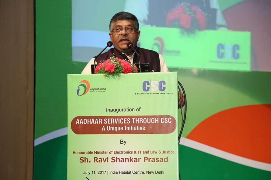 IT Minister Ravi Shankar Prasad at a CSC-Aadhaar event in 2017. Credit: CSC e-Gov
