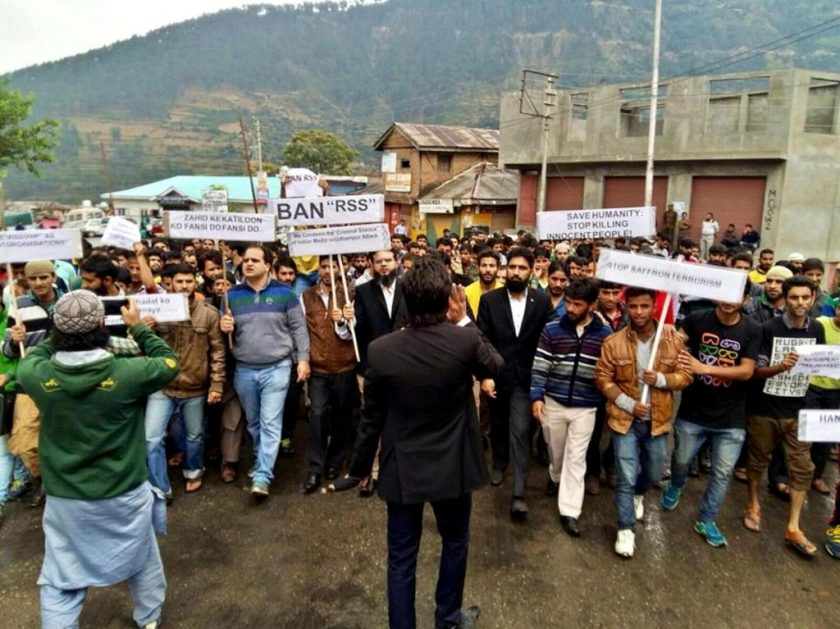 Protest demonstration in Doda town seeking the ban on RSS. Credit: Raja Jaffer Nazir
