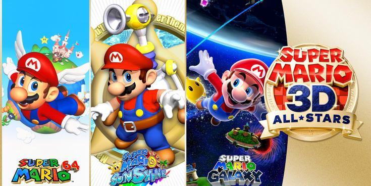 Logos of three Mario games by Nintendo