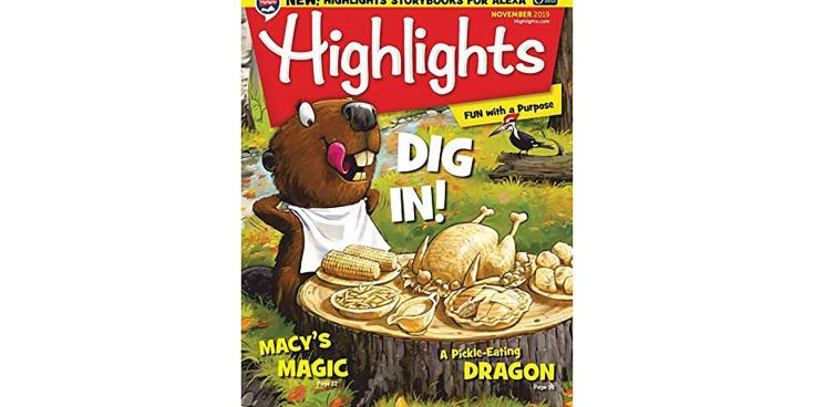 A front cover of Highlights magazine for children.