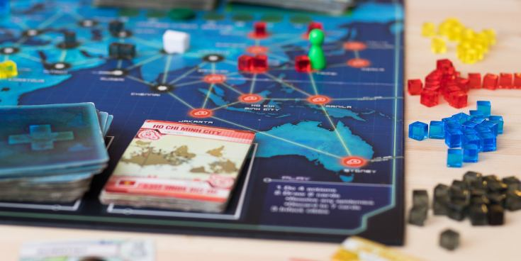 Pandemic board game in mid-play