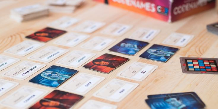 Codenames game mid-play.